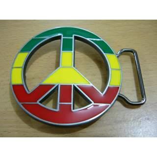 Rasta Coloured Peace Sign  Belt Buckle.