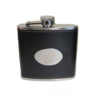 6oz stainless steel polished hipflask with black leather cover