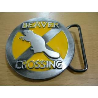 Beaver Crossing Comedy Wildlife Belt Buckle