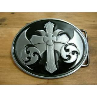 Celtic Cross Belt Buckle.Gloss Black Finish