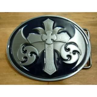 Celtic Cross Belt Buckle.Deep Blue Finish