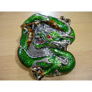 """Hand Finished """"Lucky Green Dragon"""" 3D Belt Buckle"""