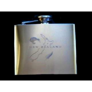 NEW ZEALAND SOUVENIR -STAINLESS STEEL FLASK 60Z IN HIGH POLISH