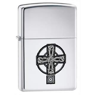 Celtic Cross High Polish Chrome Zippo Lighter