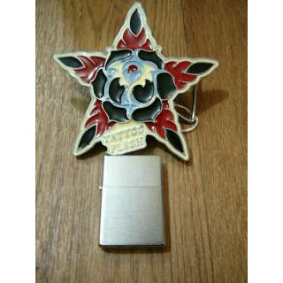 TATTOO FLASH BELT BUCKLE WITH REMOVEABLE LIGHTER GIFT SET