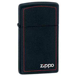 Slim Line Black with Red Border Zippo Lighter