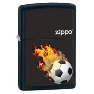 Black Matte Football Flames Zippo Lighter