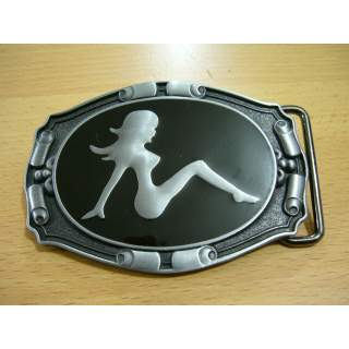 """""""Sexy Silhouette"""" Gloss Black & Silver Finish Belt Buckle"""