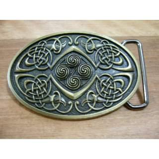 Aztec Style Brass Finish Belt Buckle.Oval