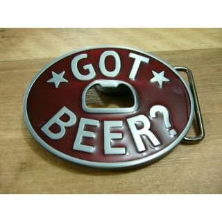 GOT BEER Bottle Opener Belt Buckle Red Finish