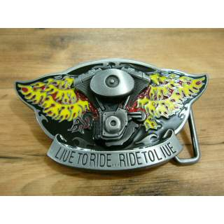 V TWIN & FLAMES LIVE TO RIDE BELT BUCKLE