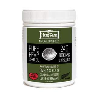 Certified Organic Hemp Seed Oil Capsules.