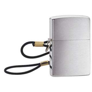 Loss Resistant Brushed Chrome Zippo Lighter with lanyard