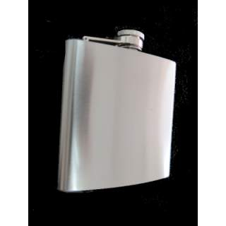 SATIN FINISH STAINLESS STEEL SQUARE STYLE 60Z HIPFLASK.