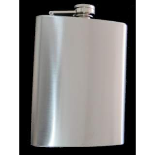 SATIN FINISH STAINLESS STEEL SQUARE STYLE 8 0Z HIPFLASK.