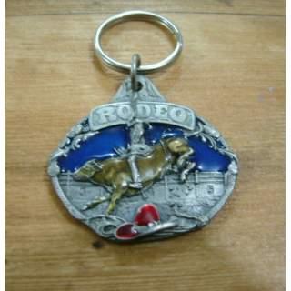 Rodeo Bull Rider Pewter Key Ring