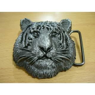 Tiger Face Belt Buckle Antique Brush Silver Colour Finish