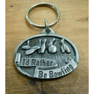 I'd Rather Be Bowling Pewter Key Ring