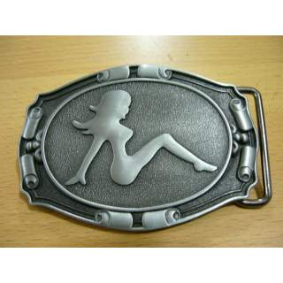 """Girl In """"Sexy Silhouette"""" Unisex Silver Finish Belt Buckle"""