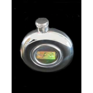 HIGH POLISH STAINLESS STEEL HIP FLASK. ROUND IN DESIGN WITH A GL