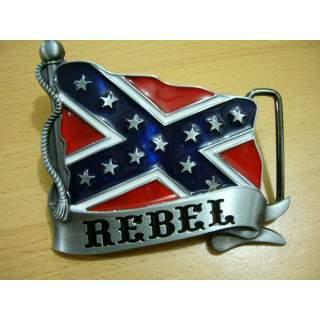 Southern Rebel Flag On Flag Pole Belt Buckle