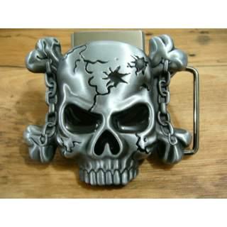 Skull Buckle & Removable Lighter Set.Antique Silver Finish
