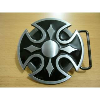 Round Celtic Cross Shield Black n Silver Belt Buckle