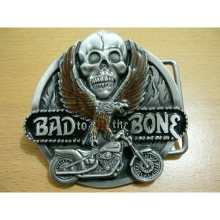 """American Made  """"Bad To The Bone"""" Pewter Belt Buckle"""