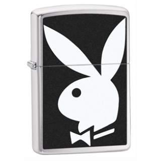 Brushed Chrome Playboy Zippo Lighter