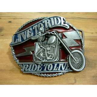 Full Colour Hand Finished Live To Ride Belt Buckle